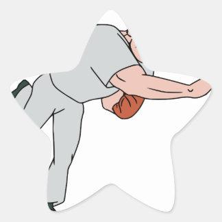 Baseball Player Pitcher Throw Ball Cartoon Star Sticker