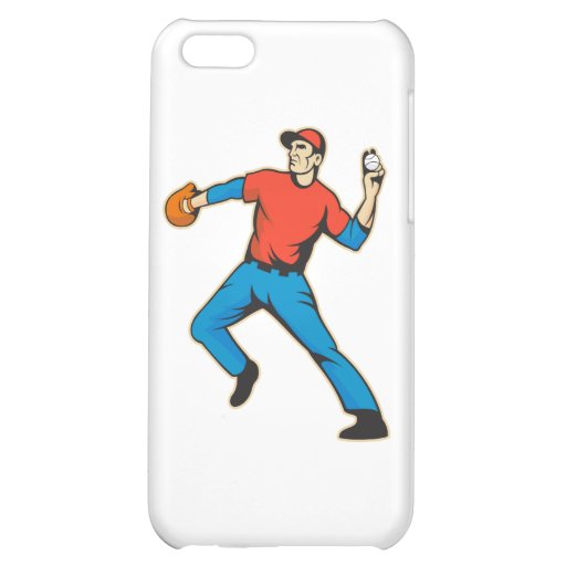 Baseball Player Pitcher Throwing Ball iPhone 5C Covers