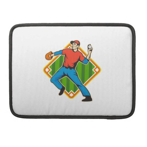 Baseball Player Pitcher Throwing Ball MacBook Pro Sleeve