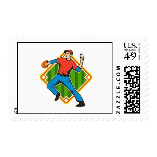 Baseball Player Pitcher Throwing Ball Stamps
