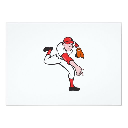 Baseball Player Pitcher Throwing Cartoon 5x7 Paper Invitation Card