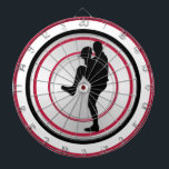 "Baseball Player Pitcher Windup Dartboard With Darts<br><div class=""desc"">Red circles with pitcher for a baseball theme dart board</div>"
