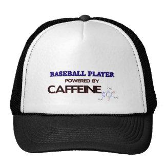 Baseball Player Powered by caffeine Hats