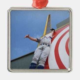 Baseball Player Reaching for Ball Metal Ornament