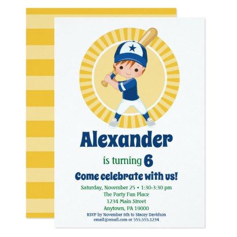Baseball Player Red Hair Boys Birthday Invitation