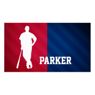 Baseball Player; Red, White, and Blue Business Card