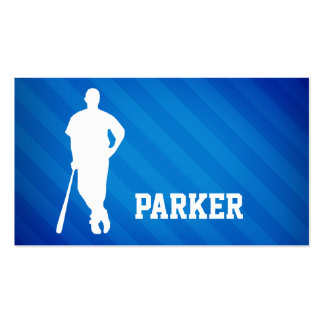 Baseball Player; Royal Blue Stripes Business Card