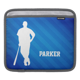 Baseball Player; Royal Blue Stripes iPad Sleeves