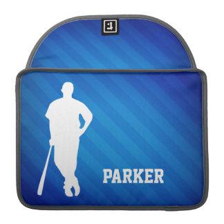 Baseball Player; Royal Blue Stripes MacBook Pro Sleeves