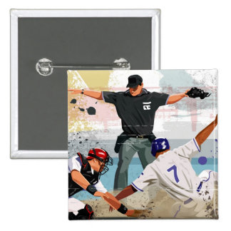 Baseball player safe at home plate 2 inch square button
