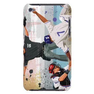Baseball player safe at home plate barely there iPod case