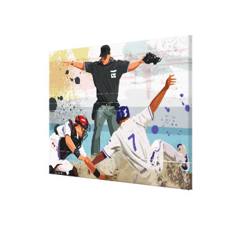 Baseball player safe at home plate canvas print