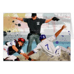 Baseball player safe at home plate card