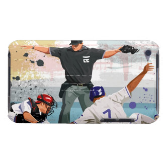 Baseball player safe at home plate iPod Case-Mate cases