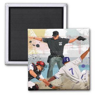 Baseball player safe at home plate magnet