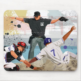 Baseball player safe at home plate mouse pad