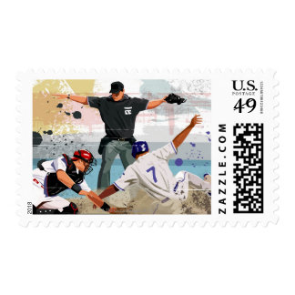 Baseball player safe at home plate postage stamp