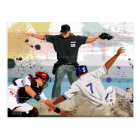 Baseball player safe at home plate postcard