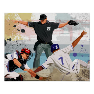 Baseball player safe at home plate poster