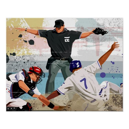 Baseball player safe at home plate posters