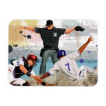Baseball player safe at home plate rectangular magnets