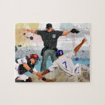 Baseball player safe at home plate puzzles