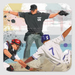 Baseball player safe at home plate sticker