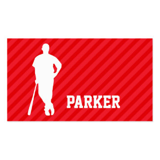 Baseball Player; Scarlet Red Stripes Business Card
