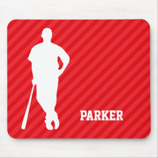 Baseball Player; Scarlet Red Stripes Mouse Pad