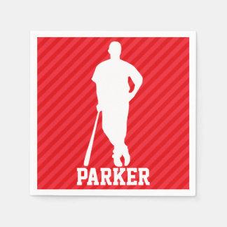 Baseball Player; Scarlet Red Stripes Napkin