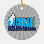 baseball player silhouette and text logo ornament