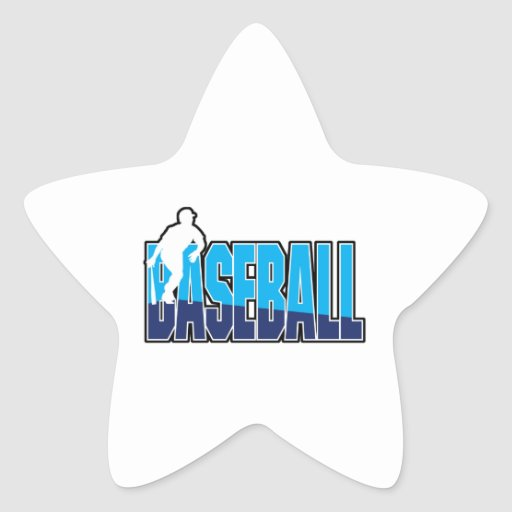 baseball player silhouette and text logo star sticker