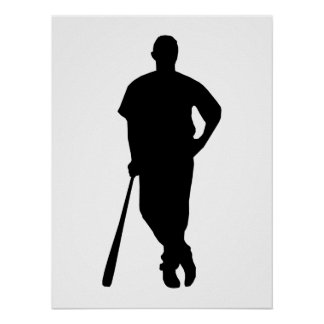 Baseball Player Silhouette Poster