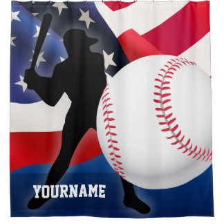 Baseball Player Silhouette with American US Flag Shower Curtain