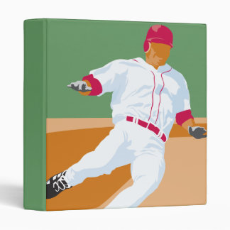 baseball player slide vector graphic 3 ring binder
