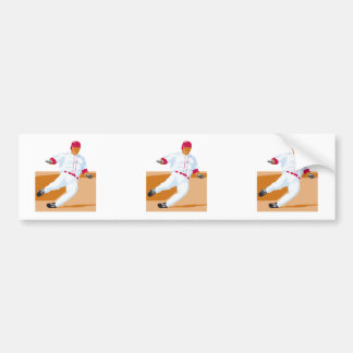 baseball player slide vector graphic bumper stickers