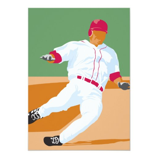 baseball player slide vector graphic 5x7 paper invitation card