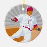 baseball player slide vector graphic christmas ornaments