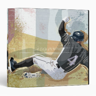 Baseball Player Sliding 2 3 Ring Binder