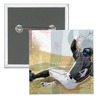 Baseball Player Sliding 2 Button