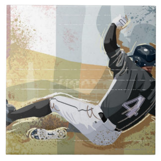 Baseball Player Sliding 2 Ceramic Tile