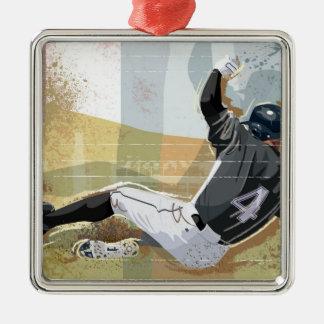 Baseball Player Sliding 2 Square Metal Christmas Ornament