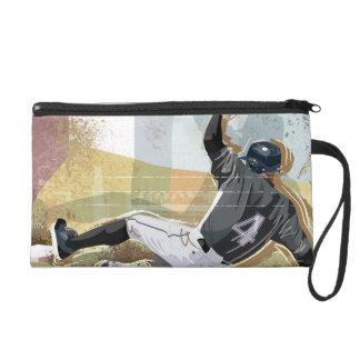 Baseball Player Sliding 2 Wristlet Purse