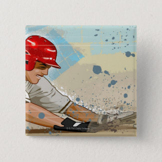 Baseball Player Sliding Button