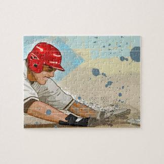 Baseball player sliding into base puzzle