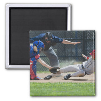 Baseball player sliding into home plate 2 inch square magnet
