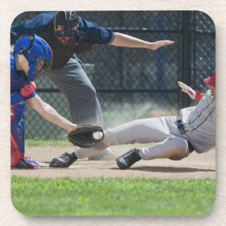 Baseball player sliding into home plate beverage coaster