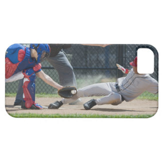Baseball player sliding into home plate iPhone SE/5/5s case
