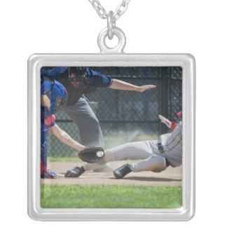 Baseball player sliding into home plate pendants