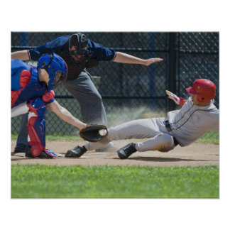 Baseball player sliding into home plate poster